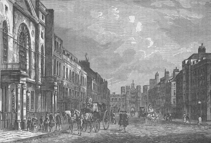 Associate Product ST.JAMES'S STREET. View in 1750. London c1880 old antique print picture