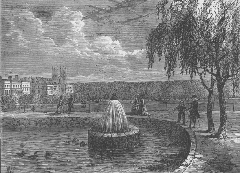 Associate Product ST.JAMES'S. The fountain in the Green Park, 1808. London c1880 old print