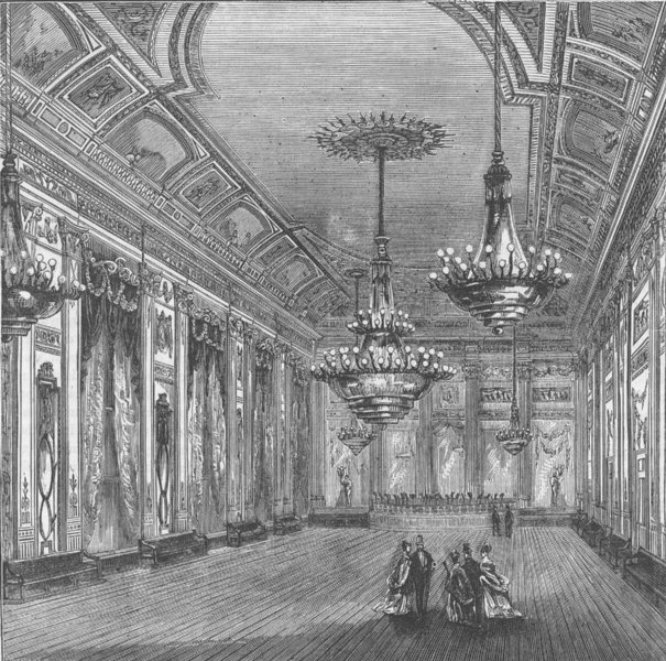 Associate Product ST.JAMES'S. The Ball-Room, Willis's rooms. London c1880 old antique print