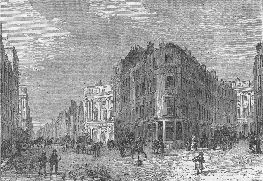 Associate Product PICCADILLY CIRCUS. View from Coventry Street. London c1880 old antique print