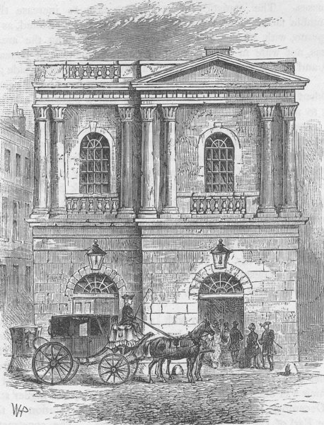 Associate Product THE HAYMARKET. Entrance to the Old Opera House, 1800. London c1880 print