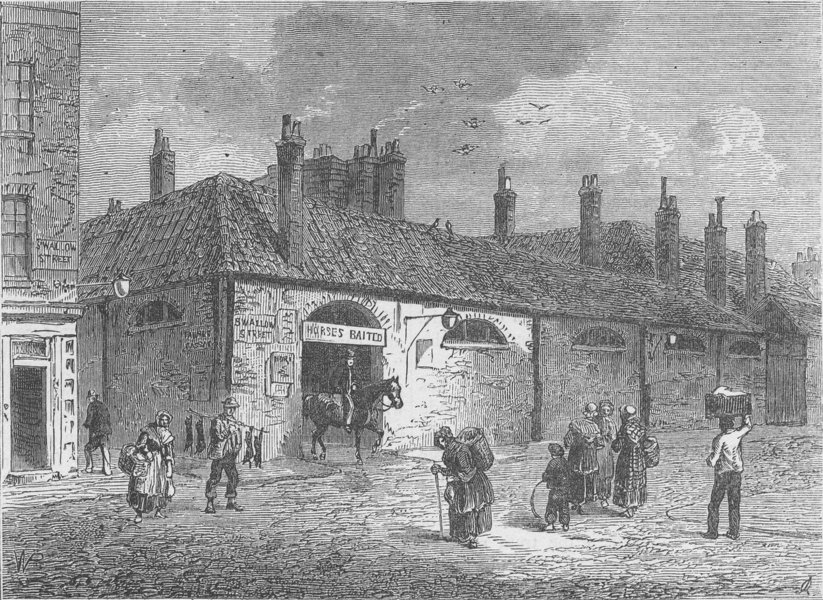 Associate Product REGENT STREET AND PICCADILLY. Old stables in Swallow Street, 1820. London c1880