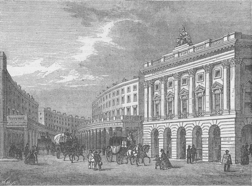 REGENT STREET. The Quadrant, before the removal of the colonnade. London c1880