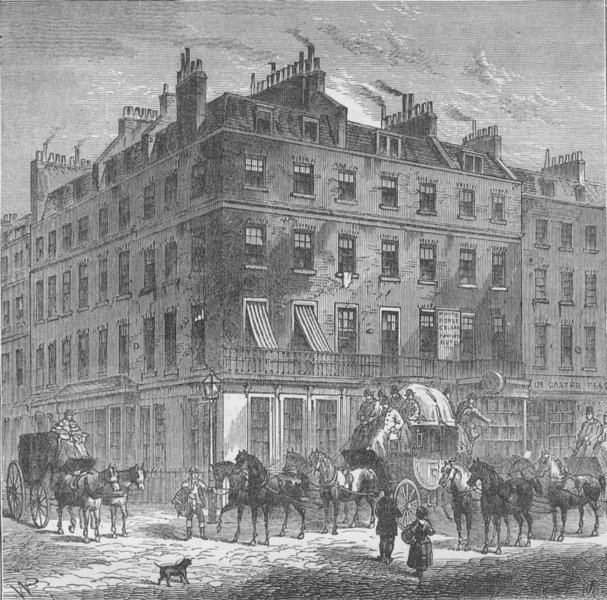 """Associate Product PICCADILLY. The new """"White Horse Cellar"""". London c1880 old antique print"""