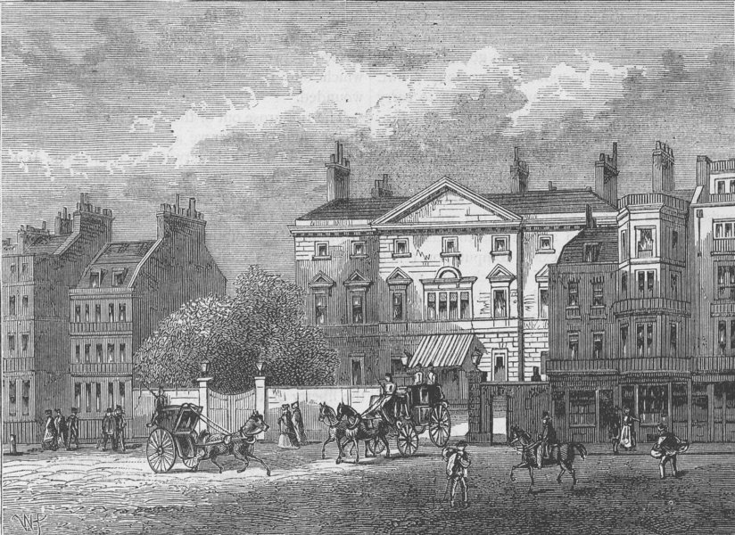 Associate Product PICCADILLY. Cambridge House, in 1854. London c1880 old antique print picture