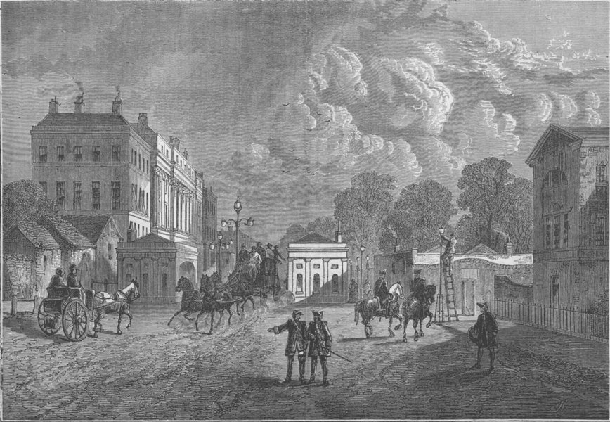 Associate Product PICCADILLY. Old Hyde Park Corner in 1820 c1880 antique print picture