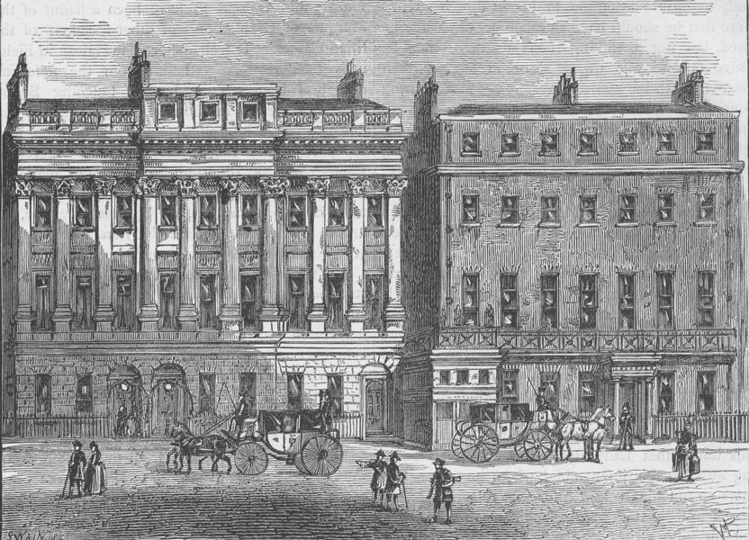 Associate Product PICCADILLY. Hamilton Place in 1802. London c1880 old antique print picture