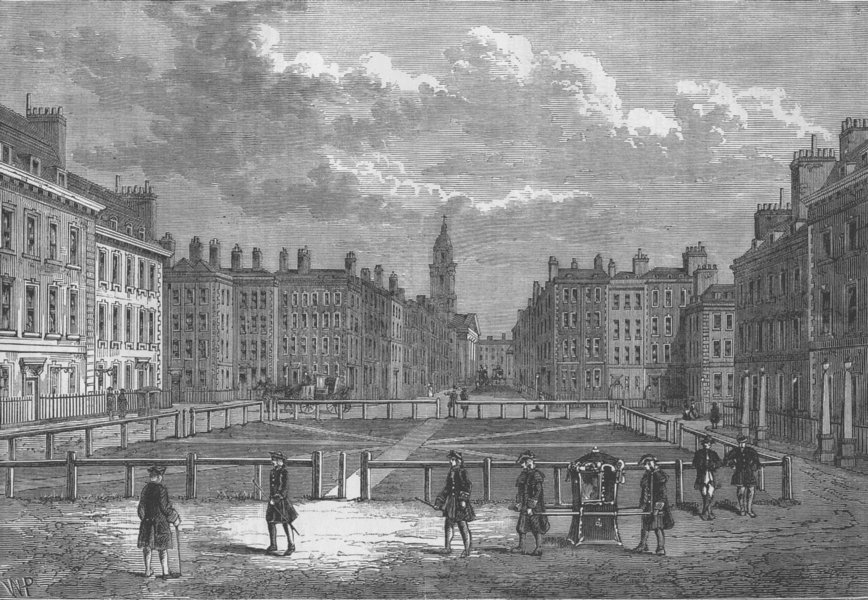 Associate Product HANOVER SQUARE. View in 1750. London c1880 old antique vintage print picture