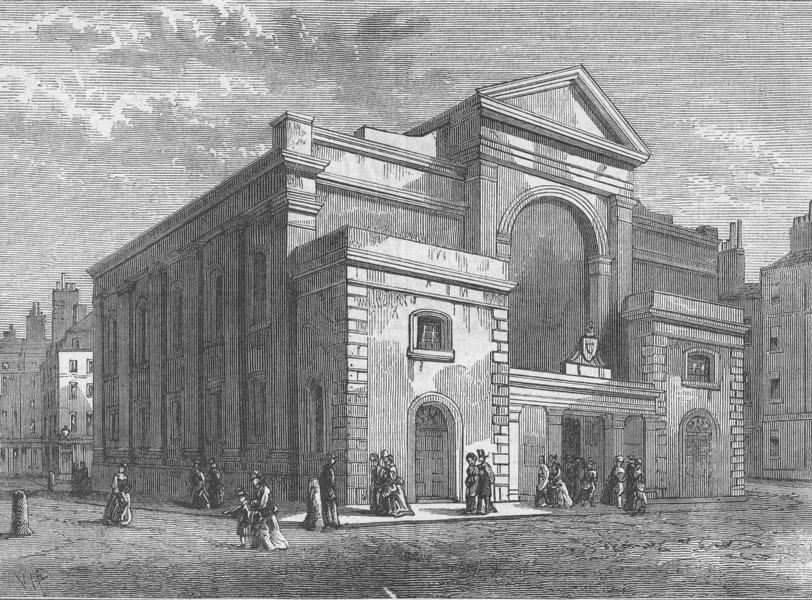 Associate Product MAYFAIR. Curzon Chapel, May Fair. London c1880 old antique print picture
