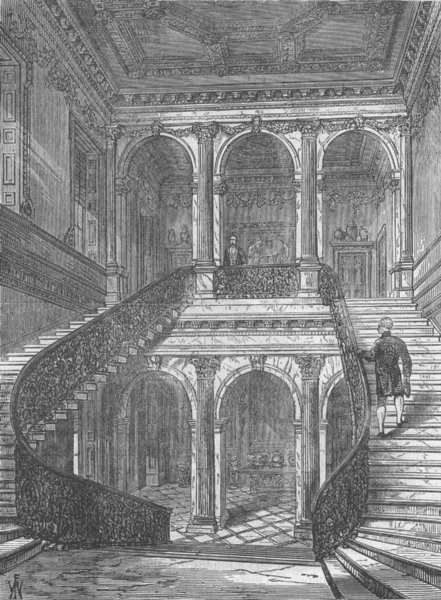 Associate Product MAYFAIR. The grand staircase, Chesterfield House. London c1880 old print