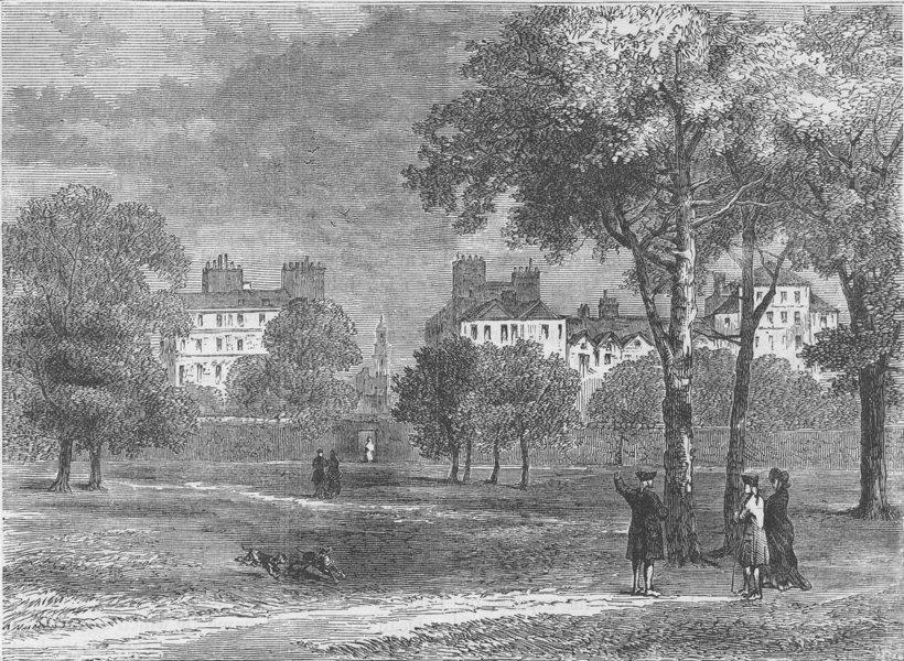 Associate Product PARK LANE. Entrance to Grosvenor Street from Hyde Park c1780. London c1880