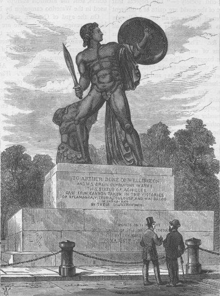 Associate Product HYDE PARK. The statue of Achilles. London c1880 old antique print picture