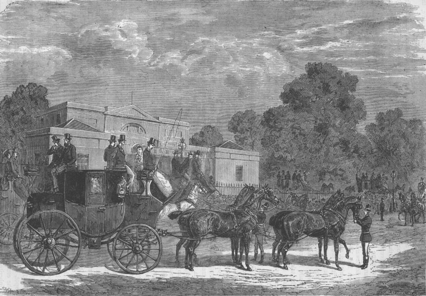 Associate Product HYDE PARK. A meet of the Four-in-Hand Club. London c1880 old antique print