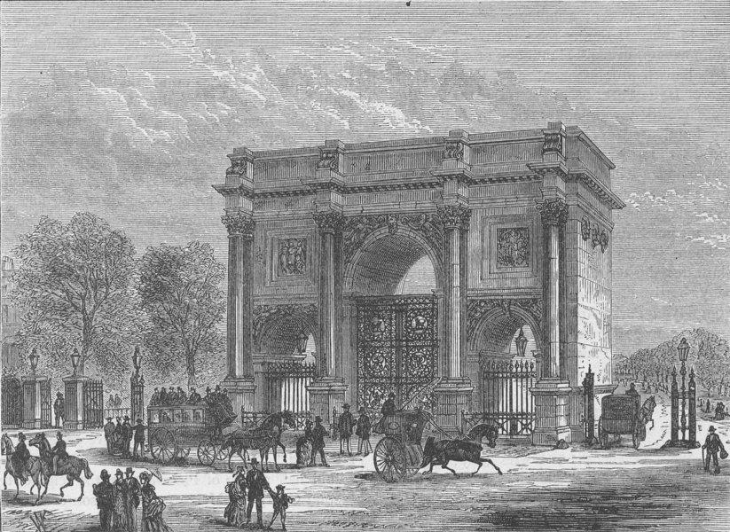 Associate Product HYDE PARK. The marble arch. London c1880 old antique vintage print picture