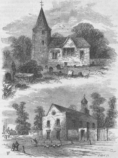 MARYLEBONE. Marylebone Church in the sixteenth century & in 1750. London c1880
