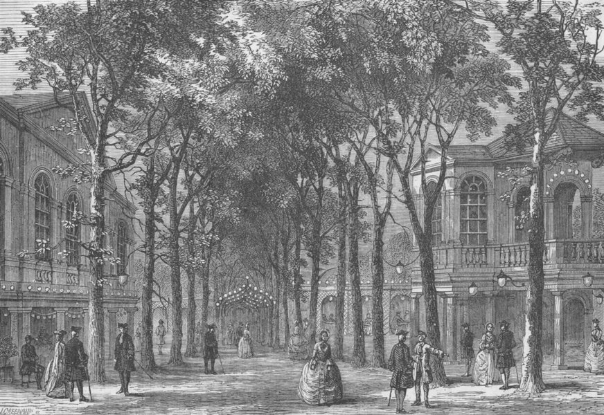 Associate Product MARYLEBONE. Marylebone Gardens in 1780. London c1880 old antique print picture