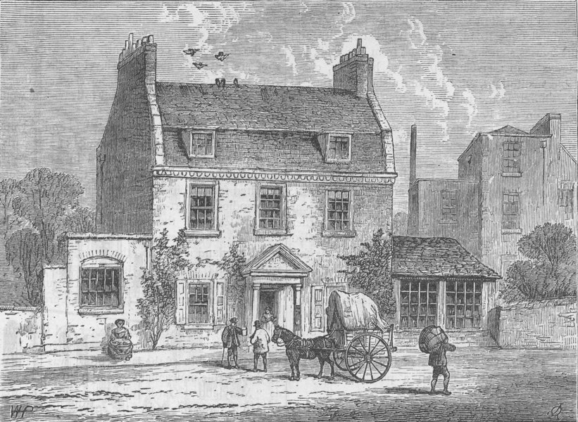 """Associate Product PORTLAND PLACE. The """"Farthing Pie House"""" in 1820. London c1880 old print"""