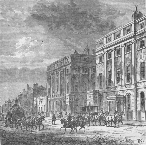 Associate Product OXFORD STREET. Stratford Place. London c1880 old antique vintage print picture