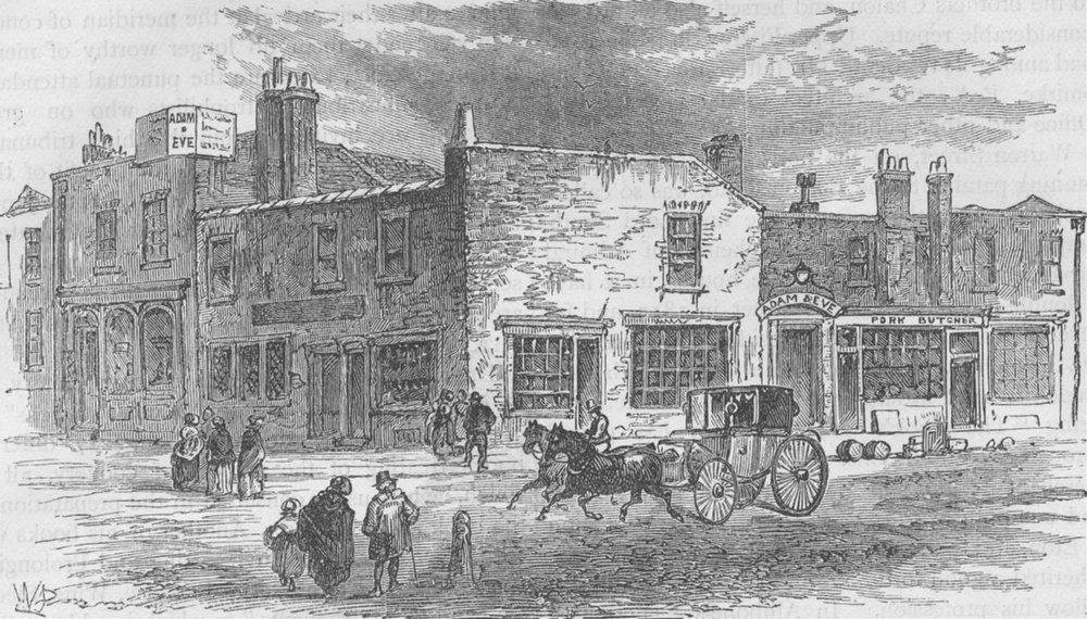 """Associate Product OXFORD STREET. The """"Adam and Eve"""" Tavern, 1750. London c1880 old antique print"""