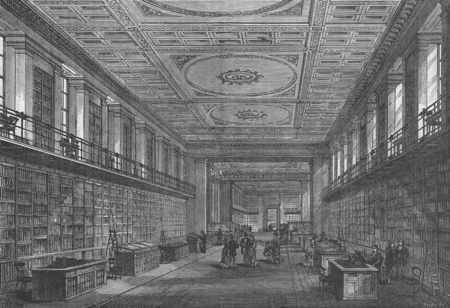 Associate Product THE BRITISH MUSEUM. The King's Library. London c1880 old antique print picture