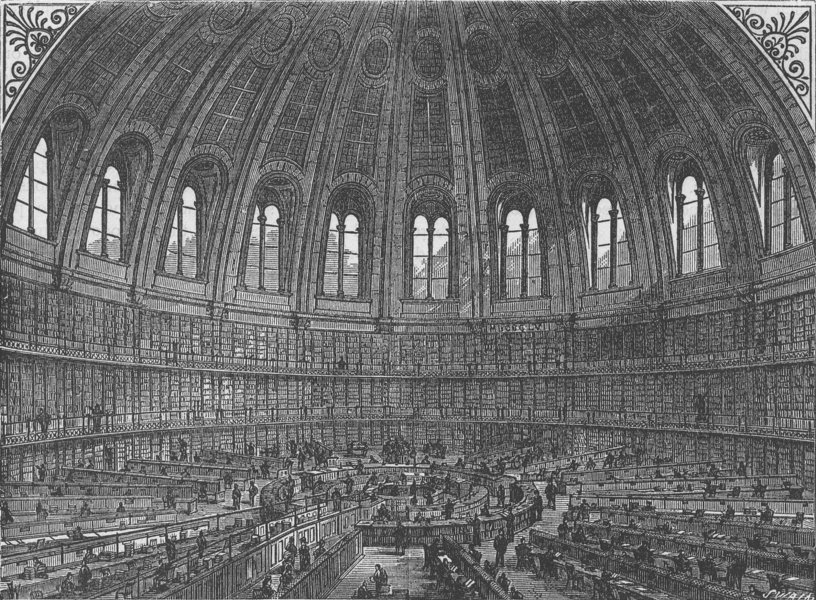 Associate Product THE BRITISH MUSEUM. The reading-room of the British Museum. London c1880 print