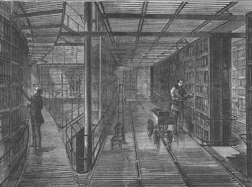 Associate Product THE BRITISH MUSEUM. The book-cases at the British Museum. London c1880 print