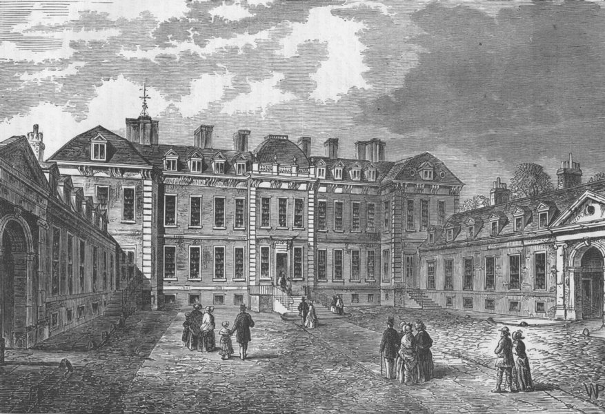 Associate Product THE BRITISH MUSEUM. Court-yard of Montagu House, 1830. London c1880 old print