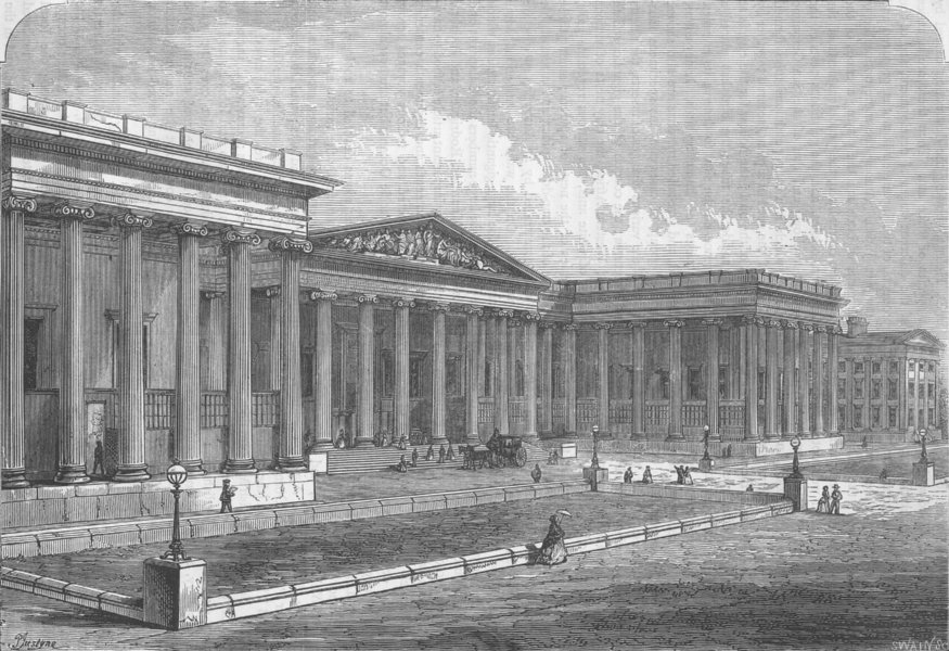Associate Product THE BRITISH MUSEUM. Front of the British Museum. London c1880 old print