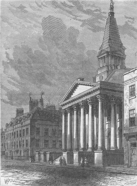 Associate Product HAWKSMOOR CHURCHES. St. George's church, Bloomsbury. London c1880 old print