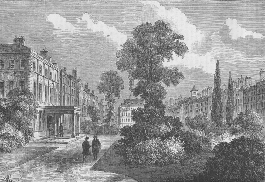 Associate Product BLOOMSBURY. Queen Square, 1810. London c1880 old antique vintage print picture