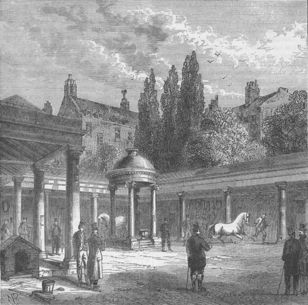 """Associate Product BELGRAVIA. Interior of the Court-yard of old """"Tattersall's"""". London c1880"""