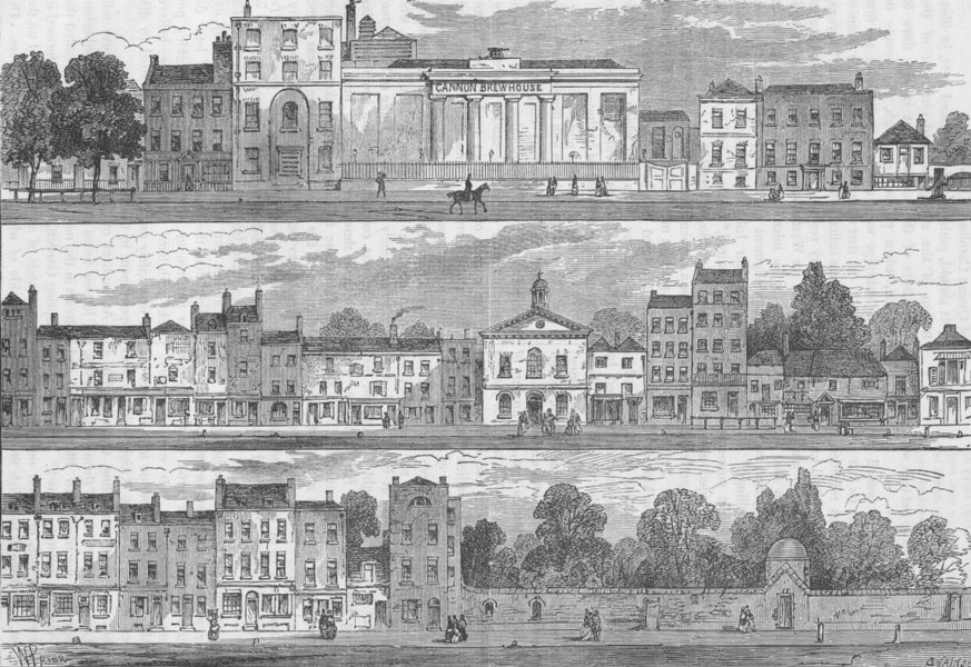 Associate Product KNIGHTSBRIDGE. North Side in 1820. Cannon Brewery to Hyde Park Corner c1880