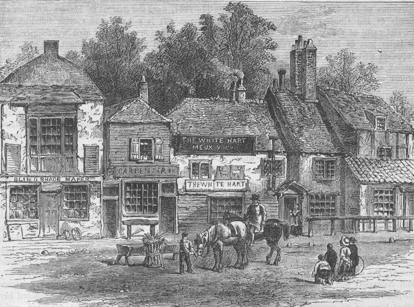 "Associate Product KNIGHTSBRIDGE. The ""White Hart"", Knightsbridge, 1820. London c1880 old print"