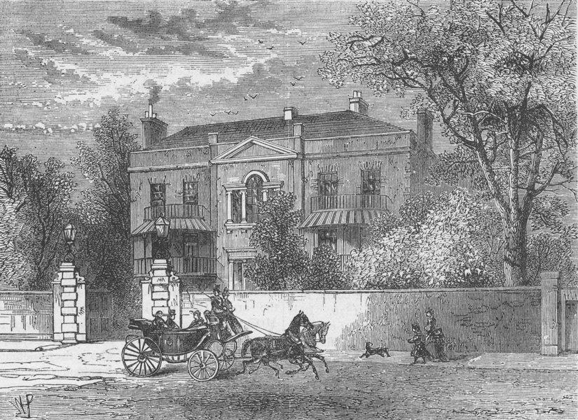 Associate Product KNIGHTSBRIDGE. Kingston House, Knightsbridge. London c1880 old antique print