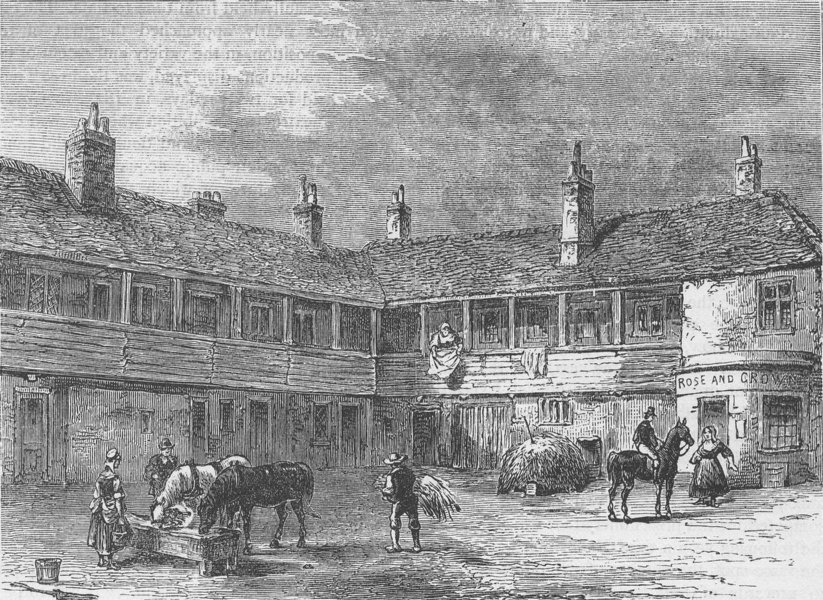 """Associate Product LONDON INNS. Court-yard of the """"Rose and Crown"""", 1820 c1880 old antique print"""