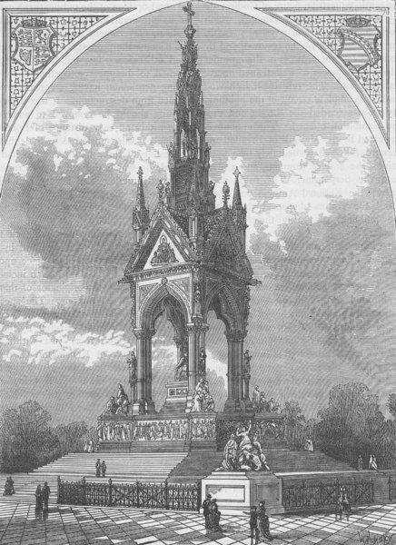 Associate Product KENSINGTON GARDENS. The Albert Memorial. London c1880 old antique print