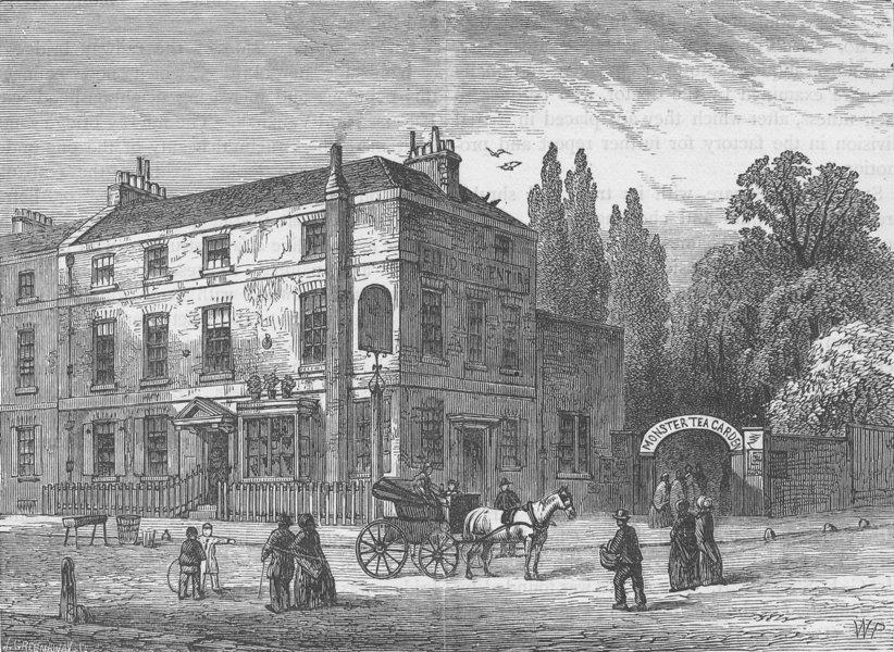 "Associate Product PIMLICO. The ""Monster Tea-Gardens"", 1820. London c1880 old antique print"