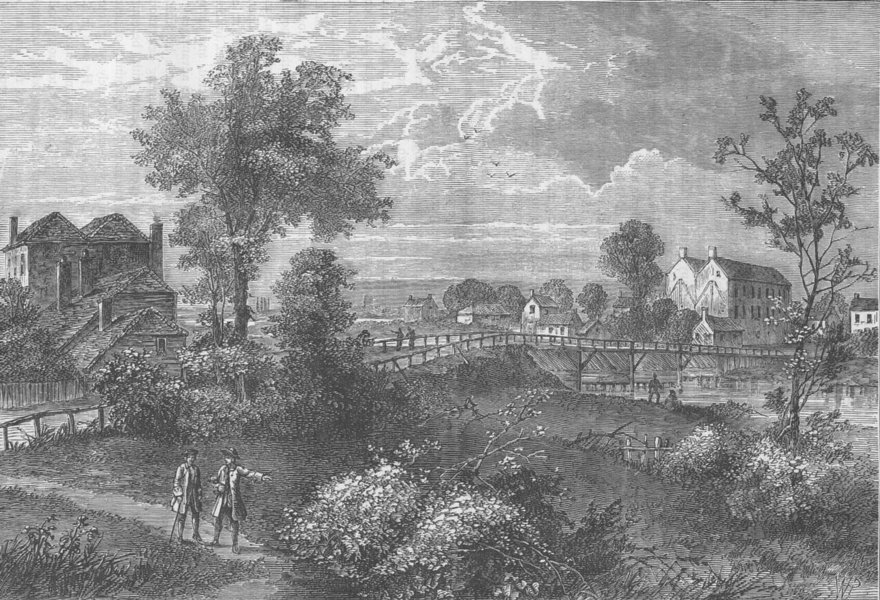 "PIMLICO. ""Jenny's Whim"" Bridge, 1750. London c1880 old antique print picture"