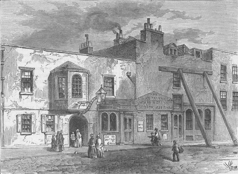 "Associate Product PIMLICO. The ""Gun"" Tavern, 1820. London c1880 old antique print picture"