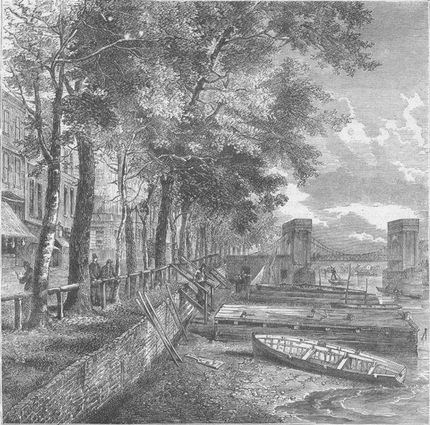 "Associate Product CHELSEA. Cheyne Walk and Cadogan Pier (from Faulkner's ""Chelsea""). London c1880"