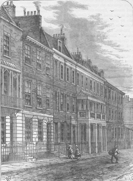 Associate Product CHELSEA. Carlyle's House, Great Cheyne Row. London c1880 old antique print