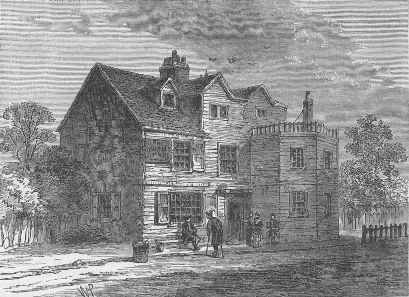 """Associate Product CHELSEA. The """"World's End"""", in 1790. London c1880 old antique print picture"""