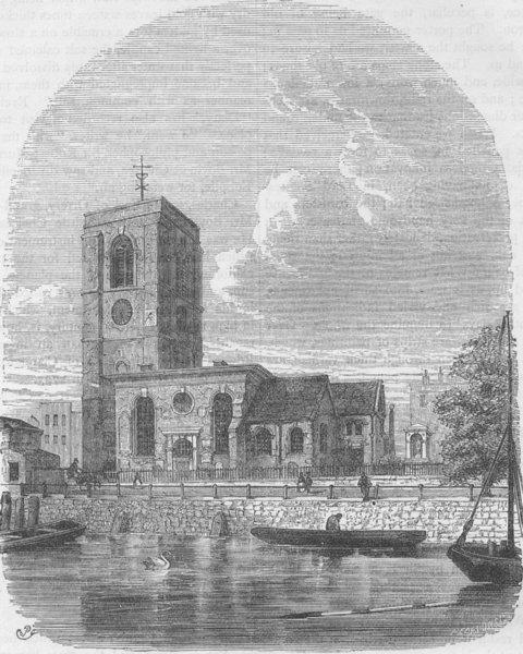 Associate Product CHELSEA. Chelsea Church, 1860. London c1880 old antique vintage print picture