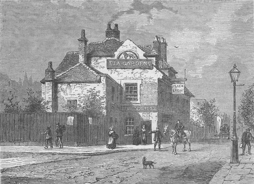 "Associate Product CHELSEA. The ""Black Lion"", Church Street, Chelsea, in 1820. London c1880 print"