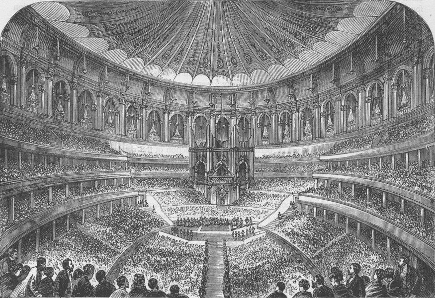 Associate Product SOUTH KENSINGTON. Interior of the Albert Hall. London c1880 old antique print