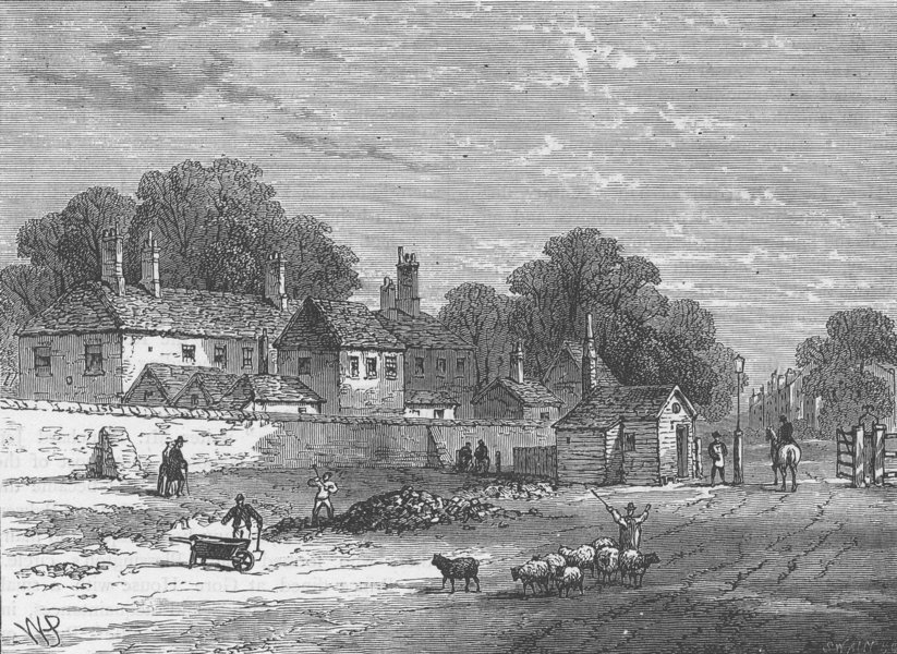Associate Product KENSINGTON. The old turnpike, Kensington, in 1820. London c1880 print