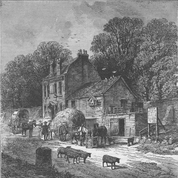 "Associate Product KENSINGTON. The ""Halfway House"", Kensington, 1850. London c1880 old print"