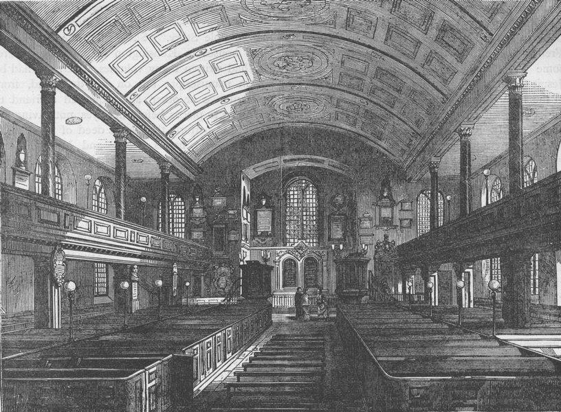 Associate Product KENSINGTON. Interior of Kensington Church, 1850. London c1880 old print