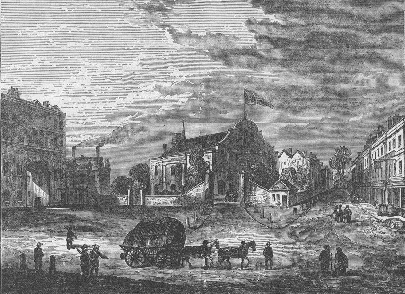 Associate Product KENSINGTON. Old Kensington Church, about 1750. London c1880 antique print