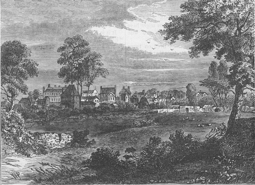 Associate Product KENSINGTON. Old view of Kensington, about 1750. London c1880 antique print
